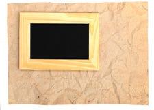 Houten frame op oud document Royalty-vrije Stock Afbeelding