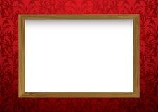 Houten frame op rood Royalty-vrije Stock Foto