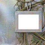 Houten frame voor foto, op de abstracte achtergrond Stock Afbeelding