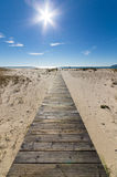 Houten gang die tot het strand over zandduinen leiden Stock Foto