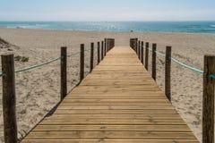 Houten gang over de zandduinen aan het strand Strandweg i Royalty-vrije Stock Afbeeldingen