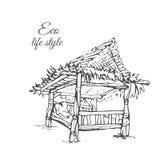 Houten gazebo met met stro bedekt dak in schetsstijl Stock Foto