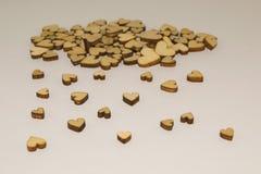 Houten geïsoleerde harten Stock Afbeelding