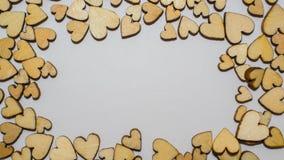 Houten geïsoleerde harten Stock Foto