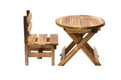 Houten geïsoleerde stoel en lijst Royalty-vrije Stock Fotografie