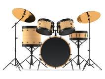 Houten geïsoleerde trommels. Zwarte trommeluitrusting. Royalty-vrije Stock Fotografie