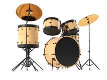 Houten geïsoleerde trommels. Zwarte trommeluitrusting. Stock Fotografie