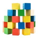 Houten gekleurde grote kubussentoren Stock Fotografie