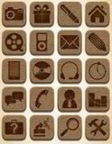 Houten geplaatste pictogrammen Stock Afbeelding