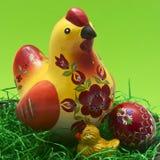 Houten geschilderde kip en kip stock illustratie