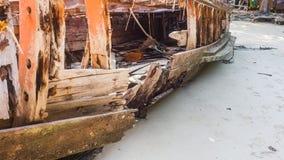 Houten gesloopt schip Stock Foto