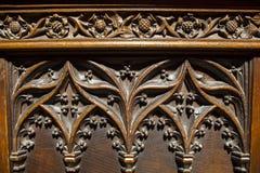 Houten Gesneden Zetels in Chester Cathedral stock fotografie