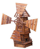 Houten geïsoleerde windmolen Royalty-vrije Stock Foto's