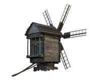 Houten geïsoleerdem windmolen Royalty-vrije Stock Afbeeldingen