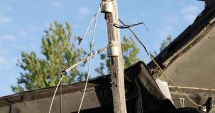 Houten gids van elektrische draden in het dorp in de zomer stock videobeelden