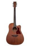 Houten gitaar bruine die kleur op witte achtergrond wordt geïsoleerd Stock Fotografie