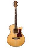 Houten gitaar gele kleur die op witte achtergrond wordt geïsoleerd Stock Afbeelding