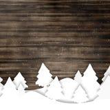 Houten Grafische de Winterkerstmis Stock Foto's