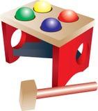 Houten hamerstuk speelgoed Stock Illustratie