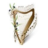 Houten harp en olijven royalty-vrije illustratie
