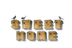 Houten het woord ZOET HUIS van het brievenvogelhuis op witte achtergrond Houten alfabet, woorden Royalty-vrije Stock Foto's