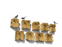 Houten het woord ZOET HUIS van het brievenvogelhuis op witte achtergrond Houten alfabet, woorden Stock Foto