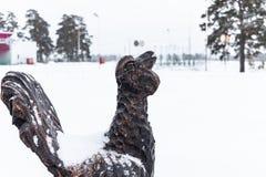 Houten hoen in de winter Een houten standbeeld van een vogel met een staart, een zwart hoen bevindt zich royalty-vrije stock foto's