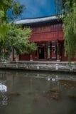 Houten Huis Lijiang, Yunnan-binnenplaats Royalty-vrije Stock Foto