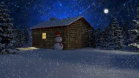 Houten huis onder sneeuw Stock Fotografie