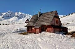 Houten Hut in Bergen Royalty-vrije Stock Foto's