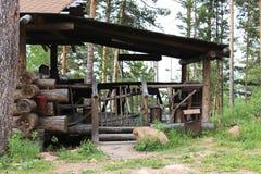 Houten hut Beverlogboek Royalty-vrije Stock Foto's