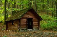 Houten hut in het bos Stock Afbeelding
