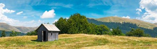 Houten hut op een grasrijke weide stock fotografie