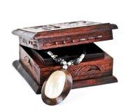 Houten juwelendoos royalty-vrije stock foto's