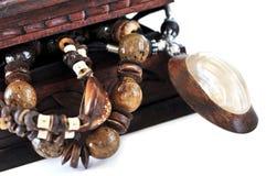 Houten juwelendoos stock afbeelding