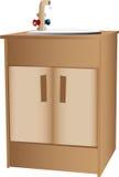 Houten kabinet en gootsteen Stock Foto