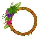 Houten kader met bloem vector illustratie