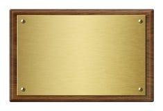 Houten kader met de gouden 3d illustratie van de metaalplaque Stock Afbeeldingen