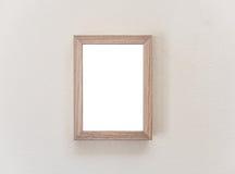 Houten kader op witte muur Royalty-vrije Stock Foto