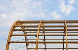 houten kader van een gebouw in aanbouw stock foto