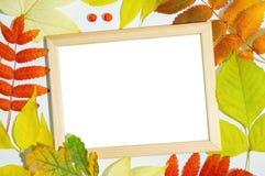 Houten kader voor foto Achtergrond van de herfst stock foto's