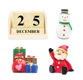 Houten Kalender 25 DECEMBER met Kerstmis en Nieuwjaar verfraait Stock Foto