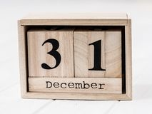 Houten kalender die thirty-fir van december toont Stock Fotografie