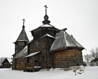 Houten kerk in het museum Suzdal. Stock Afbeeldingen