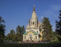 Houten kerk in Kazachstan stock foto's