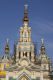 Houten kerk in Kazachstan royalty-vrije stock afbeelding