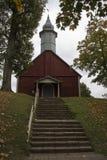 Houten kerk op het grondgebied van Turaida-reserve Sigulda, Letland royalty-vrije stock foto's