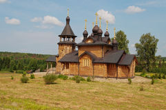 Houten kerk van Alle Heiligen van Siberië. Verkhoturie. Rusland. Royalty-vrije Stock Afbeeldingen
