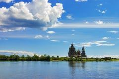 Houten kerken op eiland Kizhi Stock Foto