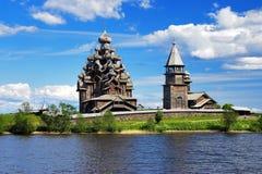 Houten kerken op eiland Kizhi Stock Foto's
